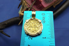 "Load image into Gallery viewer, Small ""1 Escudo"" Quality Reproduction  24kt Solid Gold Atocha Shipwreck Coin inside 14k Yellow Gold  Bezel with Barrel Bail Nautical Pendant"