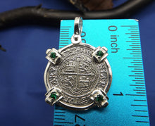 Load image into Gallery viewer, Sterling Silver 2 Reale Replica Atocha Shipwreck Pirate Coin Pendant with Emeralds