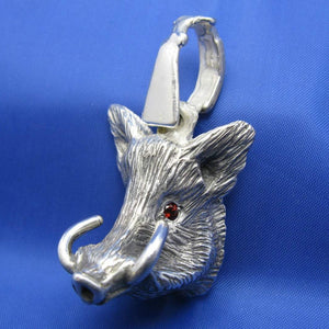 Large Sterling Silver Hog Head Pendant with Rifle Bail and Red Gemstone Eyes