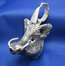 Load image into Gallery viewer, Large Sterling Silver Hog Head Pendant with Rifle Bail and Red Gemstone Eyes