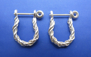 Sterling Silver .925 Rope Twisted Pirate Shackle Earring Hoops with Threaded Screw Post