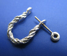 Load image into Gallery viewer, Sterling Silver .925 Rope Twisted Pirate Shackle Earring Hoops with Threaded Screw Post