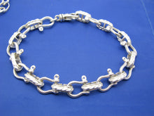 Load image into Gallery viewer, Sterling Silver Pirate Theme Nautical 11mm Shackle Bracelet with Swivel Clasp