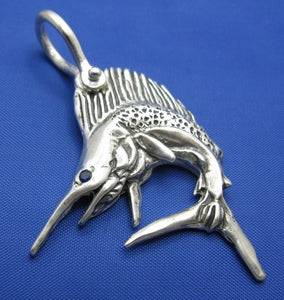 Custom Sterling Silver Sail Fish Pendant with Realistic Detailing