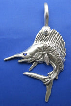 Load image into Gallery viewer, Custom Sterling Silver Sail Fish Pendant with Realistic Detailing