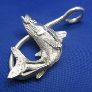 Large Unique Sterling Silver Curved Snook with Ruby Eye and Fish Hook Pendant