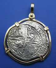 Load image into Gallery viewer, 4 Reale Shipwreck Pirate Coin Treasure Cobb Replica with 14k Solid Gold Bezel
