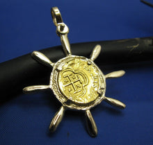 Load image into Gallery viewer, 24k Escudo Shipwreck Coin Replica in Custom 14k Nautical Ship Wheel Bezel