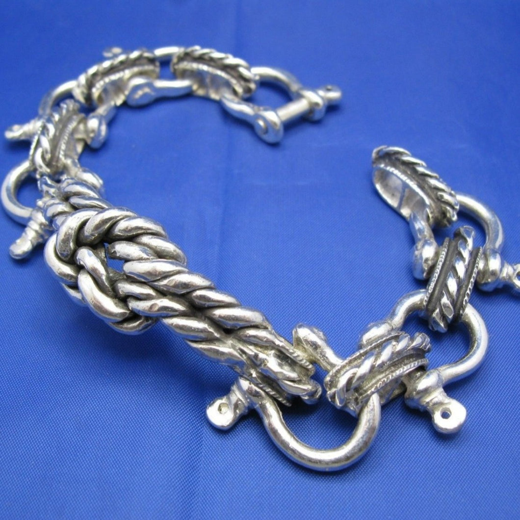 Sterling Silver Large 20mm Shackle Bracelet with Sailor's Rope Knot and Camouflaged Latch