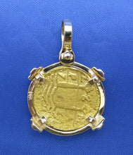 Load image into Gallery viewer, Solid 24k Gold Escudo Reproduction in Custom 14k Genuine Diamond Bezel Pendant