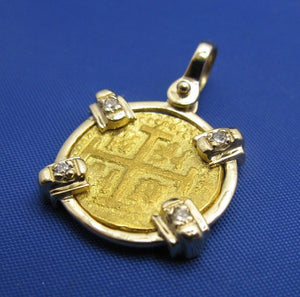 Solid 24k Gold Escudo Reproduction in Custom 14k Genuine Diamond Bezel Pendant