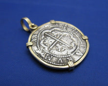 Load image into Gallery viewer, Pirate Pieces of 8 Reproduction Coin Cob Doubloon in 14k Solid Yellow Gold Bezel Nautical Pendant