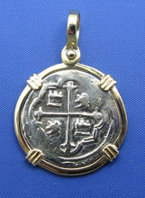 "Load image into Gallery viewer, Spanish Colonial ""1 Reale"" Atocha Shipwreck Coin Replica in 14k Yellow Gold Bezel"