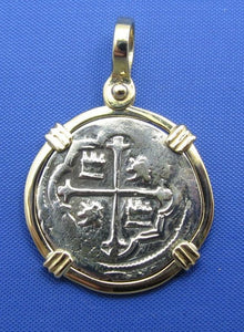 "Spanish Colonial ""1 Reale"" Atocha Shipwreck Coin Replica in 14k Yellow Gold Bezel"