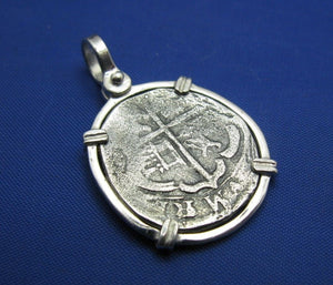 Sterling Silver Shipwreck Replica Coin with Unique Anchor Shaped Markings