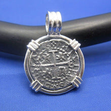 Load image into Gallery viewer, Small Sterling Silver Pirate Coin Replica Treasure Shipwreck Coin with Custom Barrel Bail Pendant Bezel