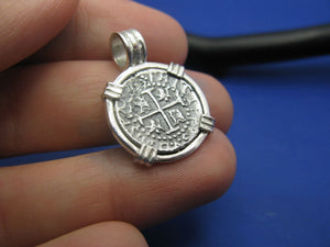 Small Sterling Silver Pirate Coin Replica Treasure Shipwreck Coin with Custom Barrel Bail Pendant Bezel