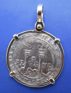 Reproduction Sterling Silver Colonial New World Charles and Joanna Coin inside Solid 14k Handmade Yellow Gold Bezel