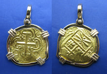 Load image into Gallery viewer, Odd Shaped 24k Gold Spanish Shipwreck Coin inside Handmade 14k Bezel