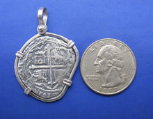 "Load image into Gallery viewer, Sterling Silver Medium ""4 Reale"" Odd Shaped Spanish Colonial Pirate Shipwreck Treasure Coin Replica in Quality Custom Handmade Bezel Pendant"