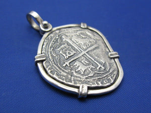"Sterling Silver Medium ""4 Reale"" Odd Shaped Spanish Colonial Pirate Shipwreck Treasure Coin Replica in Quality Custom Handmade Bezel Pendant"