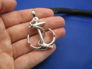 Large Sterling Silver Nautical Anchor Pendant with Shackle Bail and Rope Embellishment