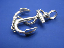 Load image into Gallery viewer, Large Sterling Silver Nautical Anchor Pendant with Shackle Bail and Rope Embellishment