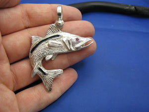 Large Sterling Silver Curved Snook Pendant with Genuine Ruby Gemstone