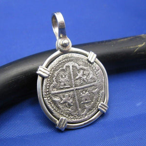 "Sterling Silver ""1 Reale"" Atocha Replica Coin in Custom Sterling Bezel"