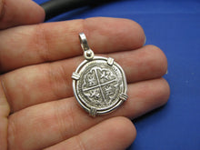 "Load image into Gallery viewer, Sterling Silver ""1 Reale"" Atocha Replica Coin in Custom Sterling Bezel"