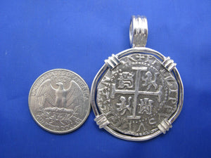 "Large Sterling Silver Replica Pirate Coin Piece of Eight ""4 Reale"" Barrel Bail Pendant 1.75"" x 1.25"""