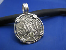 "Load image into Gallery viewer, Large Sterling Silver Replica Pirate Coin Piece of Eight ""4 Reale"" Barrel Bail Pendant 1.75"" x 1.25"""