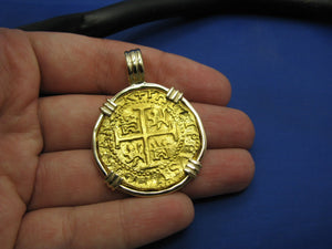 Large Quality 24k Solid Gold Escudo Hand Bezeled in Contrasting 14k Custom Bezel Colonial Era Pirate Coin Jewelry Pendant by Crisol Jewelry