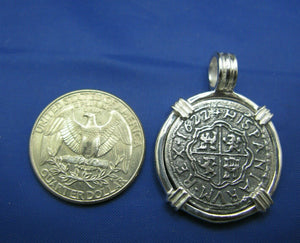 Sterling 2 Reale Atocha Pirate Shipwreck Replica Coin Pendant Necklace Jewelry