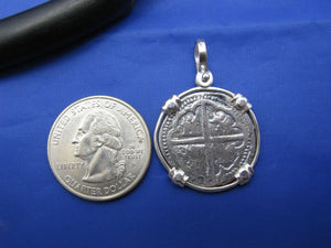 "'2 Reale"" Salvaged Shipwreck Replica Coin in Wide Tab Bezel"