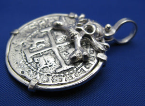 "'2 Reale"" Pirate Cob Replica in Sterling Silver with Skull Bezel"