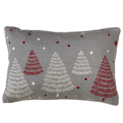"Cute Grey Knit Mod Christmas Tree Pillow, with Red and White Trees and dots embellishment. 24"" x 16""H"