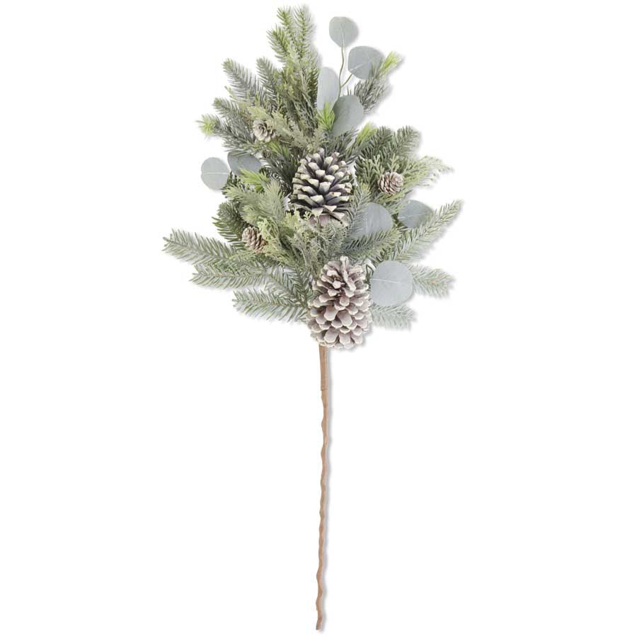 Frosted Evergreens Christmas Stem with Eucalyptus and Pinecones