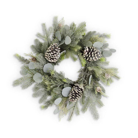 "Frosted Evergreens Christmas Wreath with Eucalyptus and Pinecones, 20""Dia."