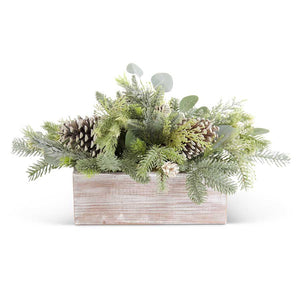 Mixed Faux Frosted Evergreens in White Washed Wood Planter Box