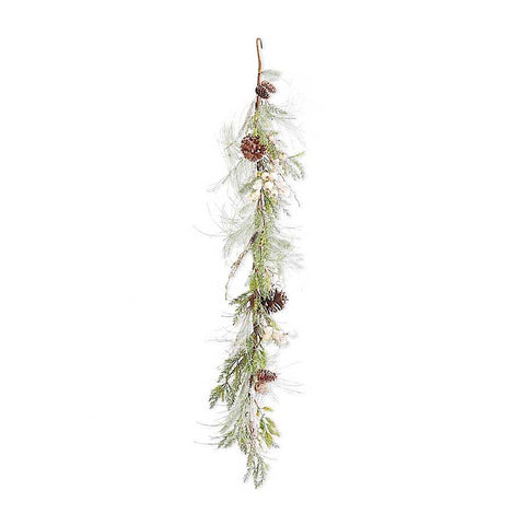 Mixed Faux Pine Garland with White Berries, 54 inch