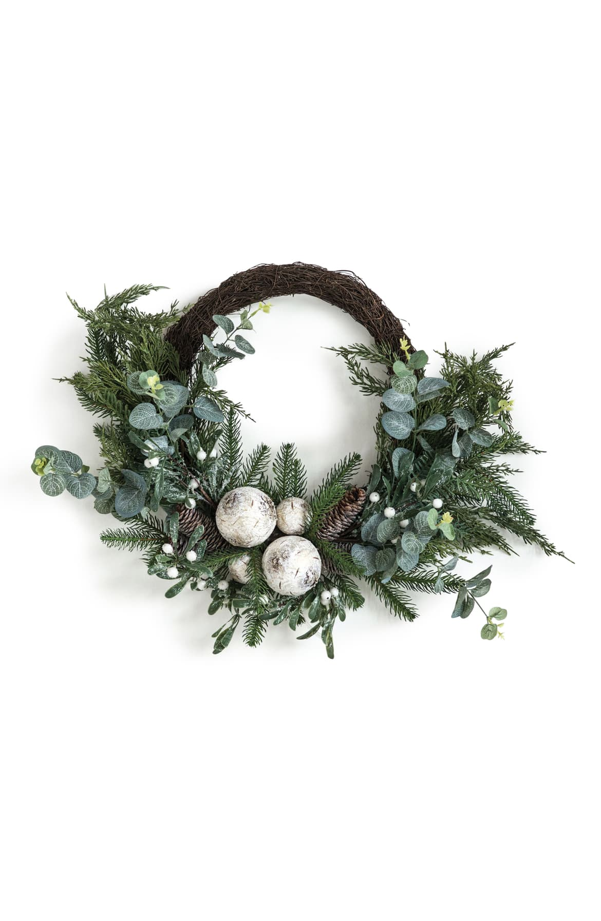 Faux Eucalyptus, birch balls and mixed greenery with pinecones and mistletoe on a faux vine wreath Christmas Holiday Winter