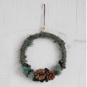 Moss and Pinecone Wreath, 8 Dia.