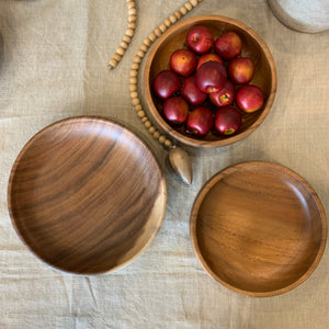 Shallow Carved Wood Bowls
