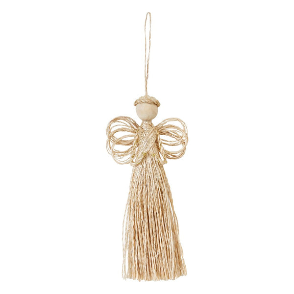 "Gold Glitter Angel Christmas Ornament abaca natural fiber and wood bead  6 1/2""H"