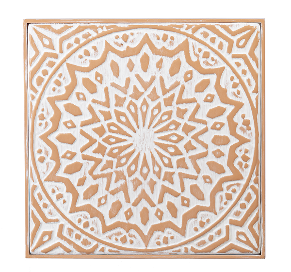 Embossed Terracotta Finish Medallion Tile Wall Decor, Metal,  4 Styles,