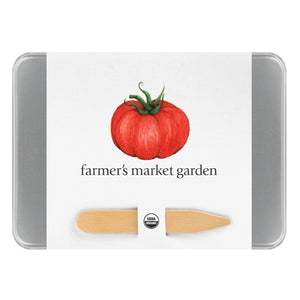 Vegetable garden seed kit in seed saver tins in steel case