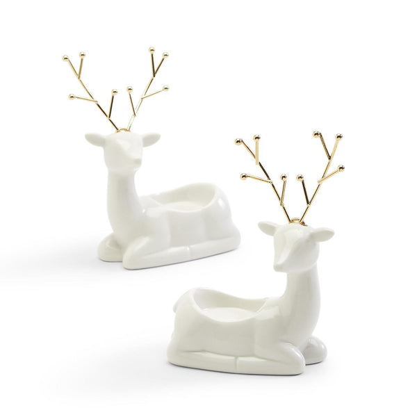 White Porcelain Reindeer with Gold Antlers Tealight Candleholder