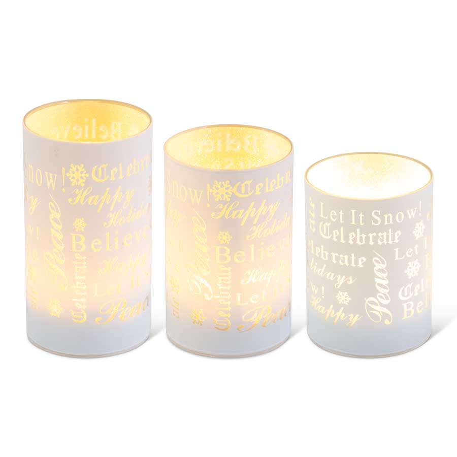 Holiday Messages Design White LED Glass Candle Votives, 3 sizes