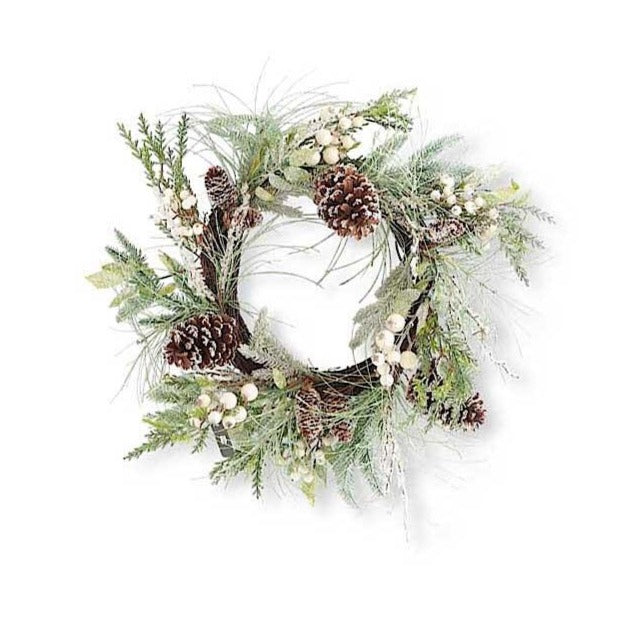 "Snowy mixed pine foliage and sparkling white berries adorn this pretty holiday wreath.  Dress your home for a beautiful white Christmas and Winter season with this layered pine wreath.  24""Dia."
